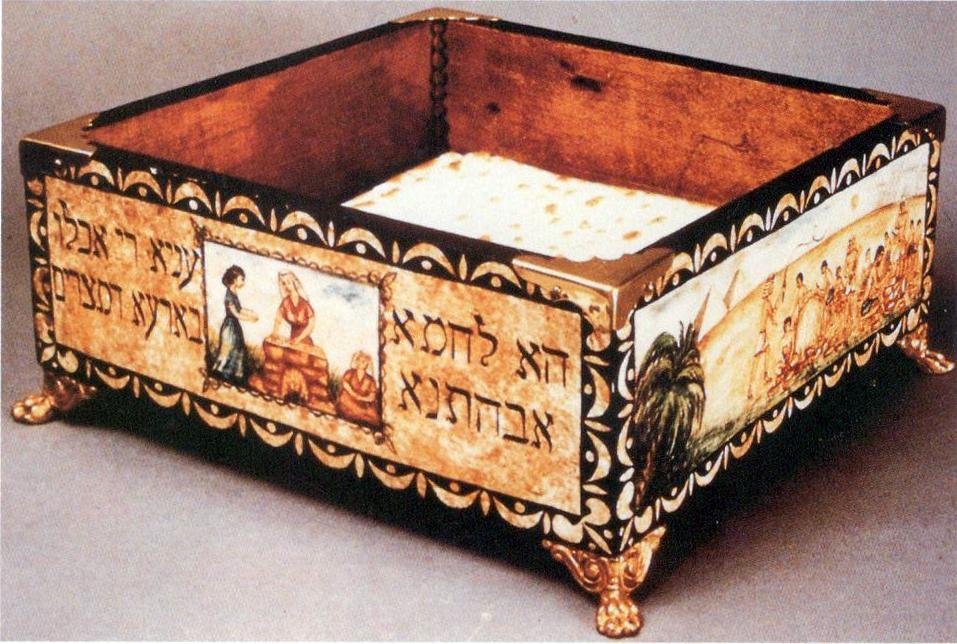 Hand-painted, Wooden Matzah Box