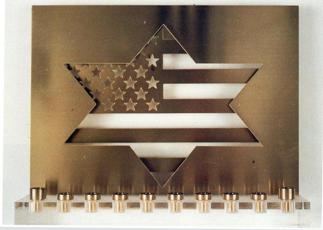 brass plexiglass menorah