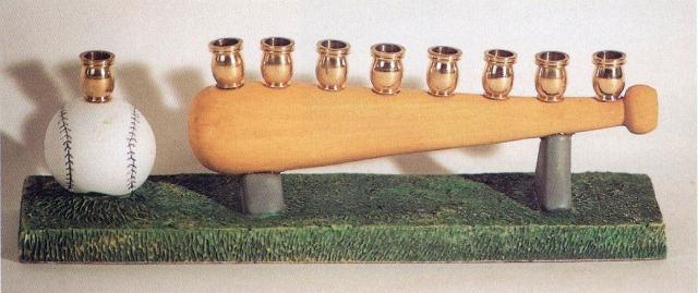 painted wood menorah