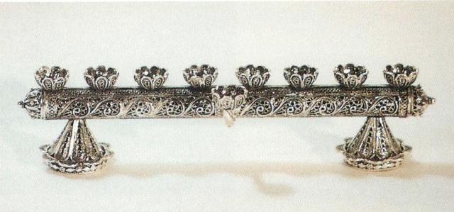 silver filigree menorah