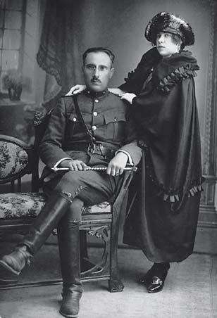 Colonel Mordechai Frizis (1893-1940) from the ancient Romaniote Greek Jewish community of Chalkis with his wife Victoria.