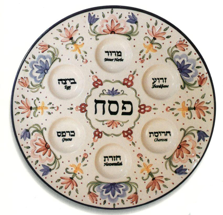 Seder Plate. Hand-painted porcelain.