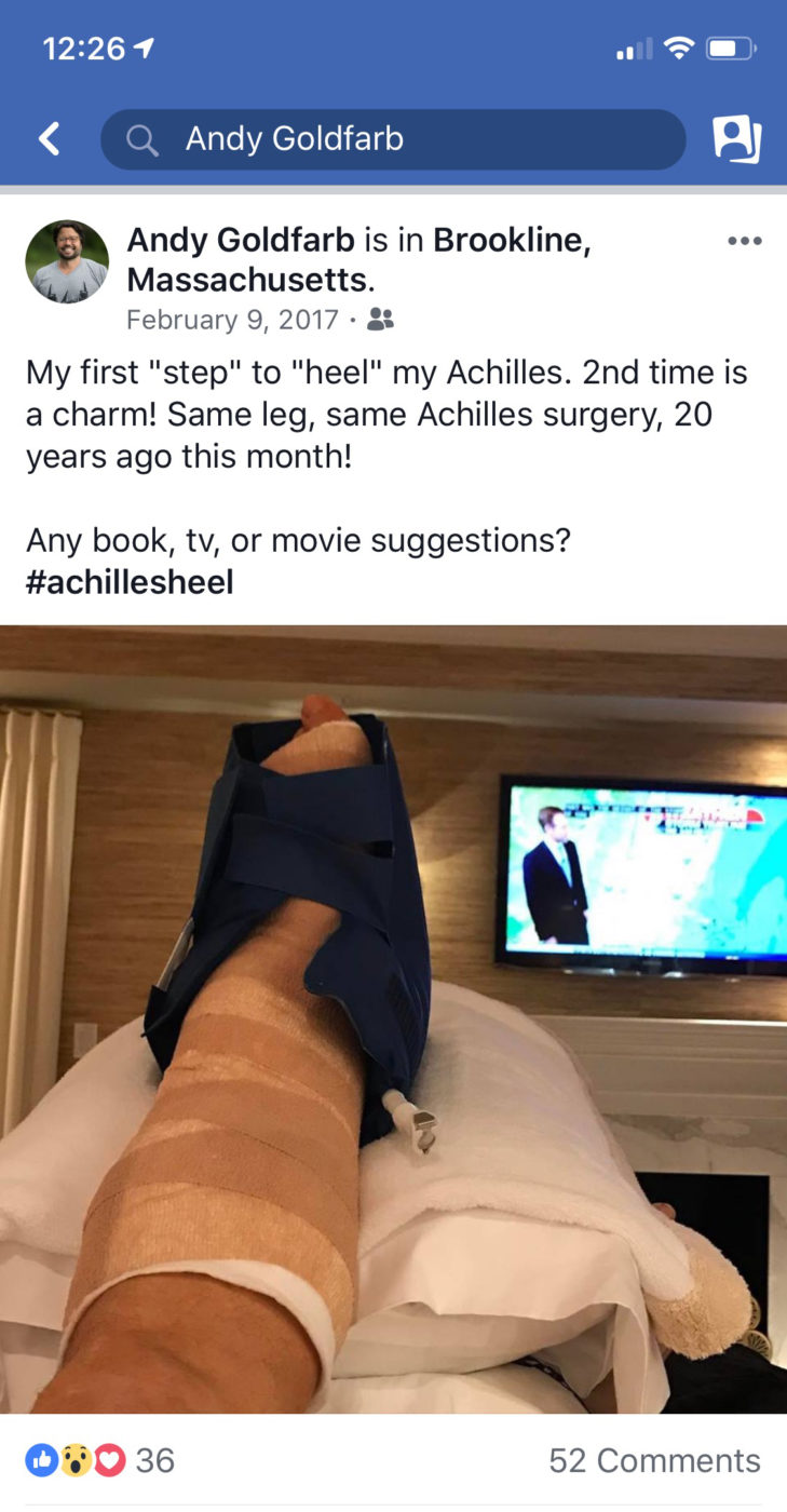 Andy Facebook post Surgery