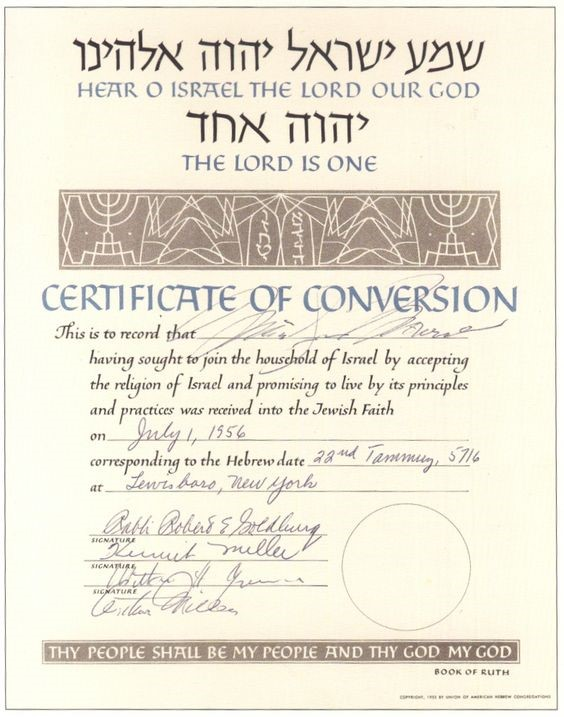 Marilyn Monroe Certificate of Conversion