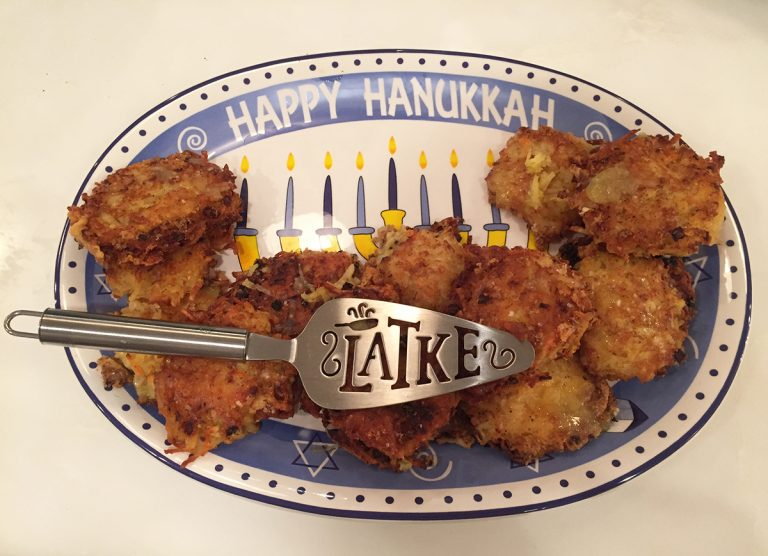 Hanukkah Plate with Latkes