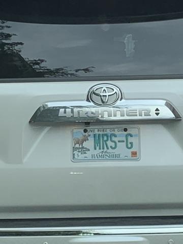 Mrs. G License plate