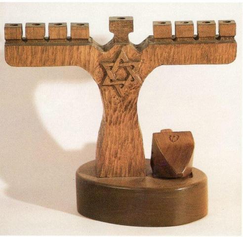Hanukkah menorah and dreidel