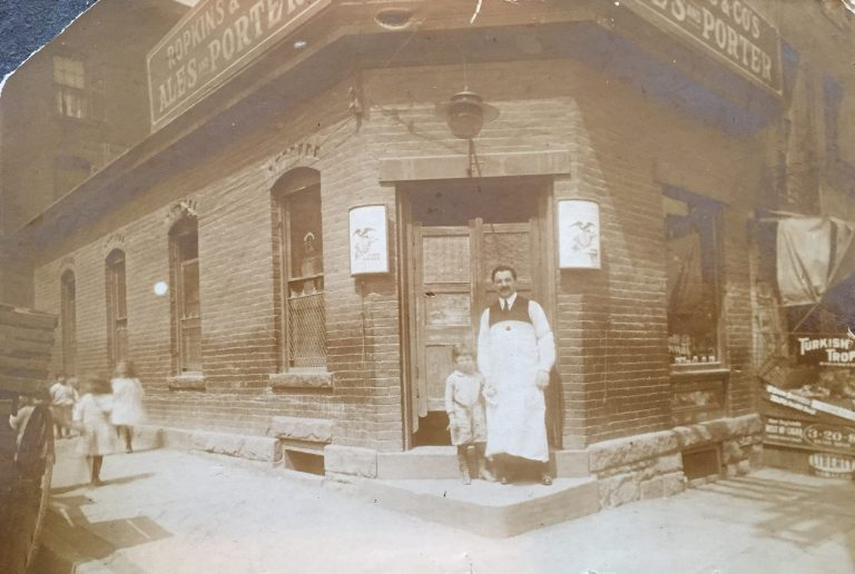 Mayer Yellin and his son Normie in front of Mayer's bar in Hartford, CT c.1913