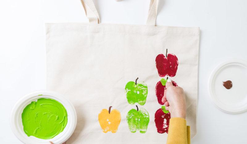 DIY Stamped Apple Bags